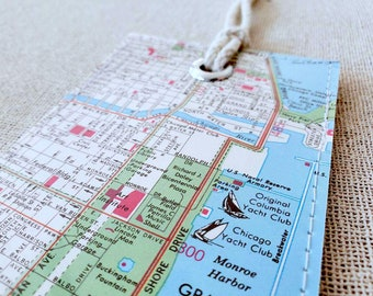 Chicago luggage tag made with original vintage map