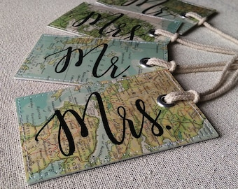 Mr & Mrs set of luggage tags made with original maps