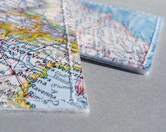 2 custom location luggage tags made with original maps