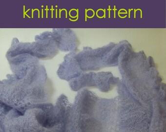 Lace Shawl or Wrap Knitting Pattern PDF, ruffle edging, lace stitch scarf