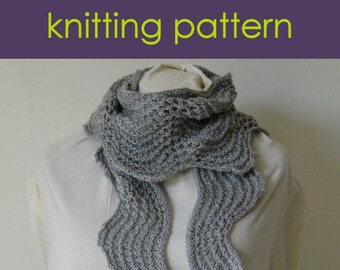 Old Shale Stitch Scarf, Knitted Scarf , Ripple Stitch Scarf, Lace Scarf, Knitting Pattern PDF