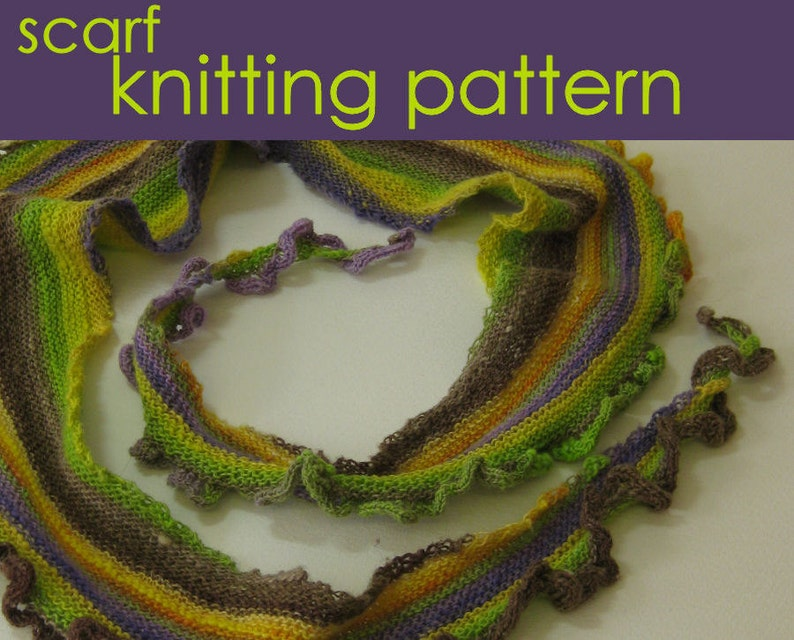 Ruffle Scarflette Knitting Pattern Frilly Scarf Knitted Etsy