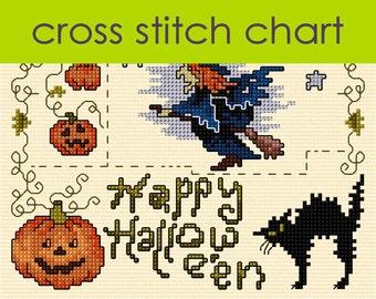 Spooky Hallowe'en Cross Stitch Sampler PDF, pumpkins, ghost, witch, scary cat cross stitch PDF CHART