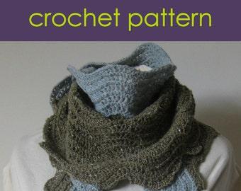 Old Shale Stitch Crochet Scarf, Ripple Stitch Crochet Scarf, Pattern PDF