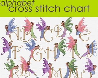 SAVE 20% Fairy Alphabet and Angels Birthstone Cross Stitch charts, PDF instant download
