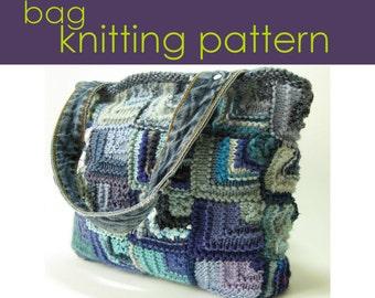Mitred Square Bag Knitting Pattern, Knitted Bag, knitting Pattern PDF