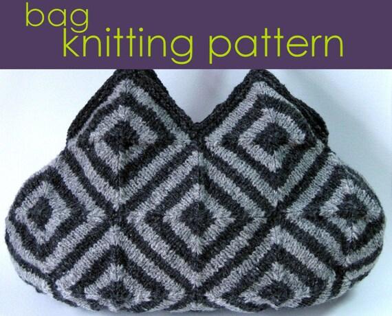 Striped Squares Bag Knitting Pattern Modular Knitting Etsy