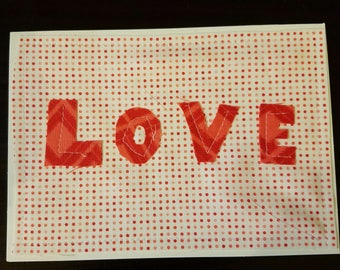 Love multimedia fabric and paper blank on the inside notecard, handmade, homemade, hand cut, moda, amy butler, cotton and steel