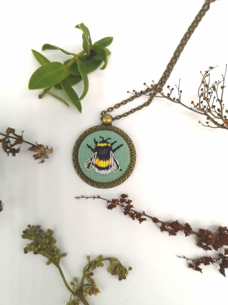 Hand Embroidered Bee Pendant Necklace image 0