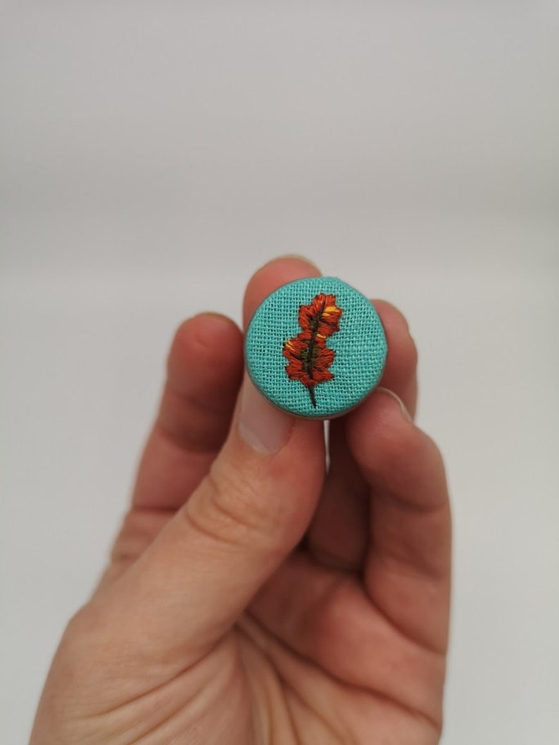 Hand Embroidered Autumn Leaf Pin image 0