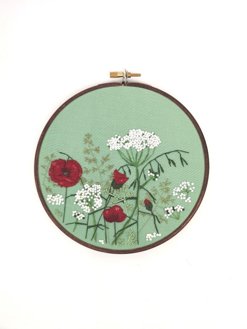 Hand Embroidered Hoop  6 inch hoop  Meadow Flowers image 0