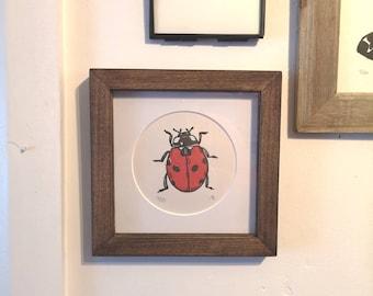 Framed Hand Printed Ladybird Print