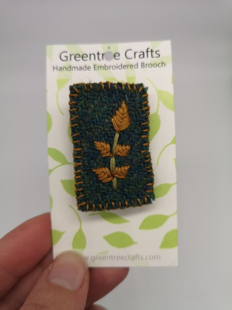 Hand Sewn Embroidered Tweed Leaf Brooch image 0