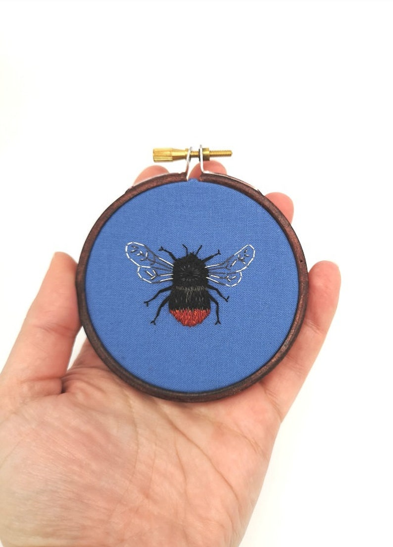 Hand Embroidered Hoop  3 inch hoop  Red Tailed Bumblebee image 0