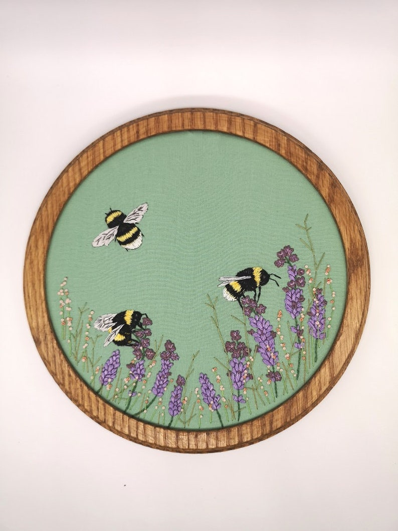 Hand Embroidered Hoop  8 inch hoop  Bee and Lavender image 0