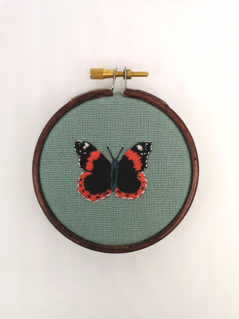 Hand Embroidered Hoop  3 inch hoop  Red Admiral Butterfly image 0