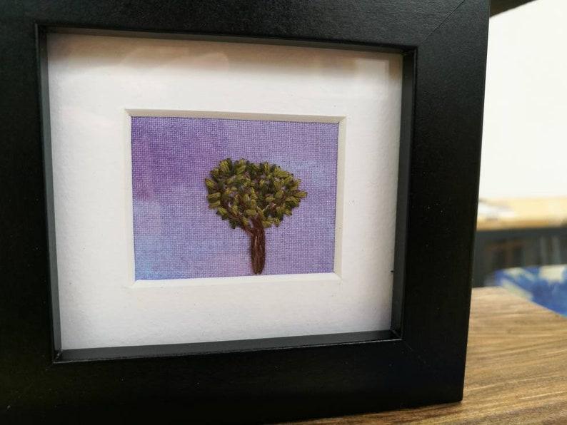 Handmade framed tree landscape embroidery  homeware gift image 0