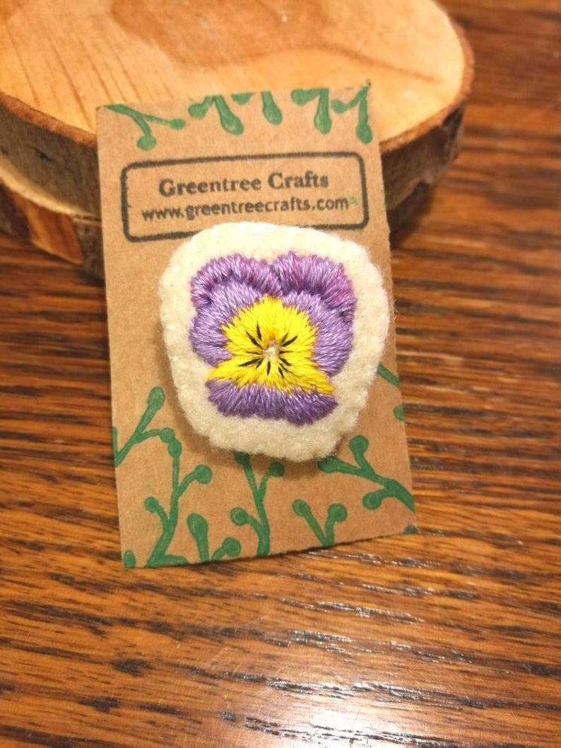 Hand Sewn Embroidered Pansy Brooch image 0