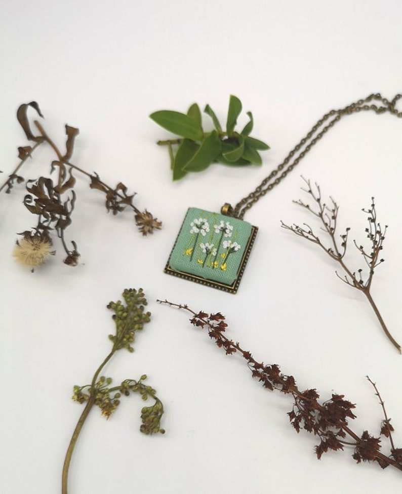 Hand Embroidered Meadow Pendant Necklace image 0