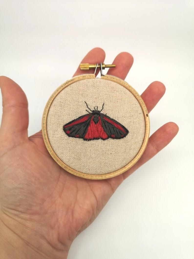 Hand Embroidered Hoop  3 inch hoop  Burnett Moth image 0