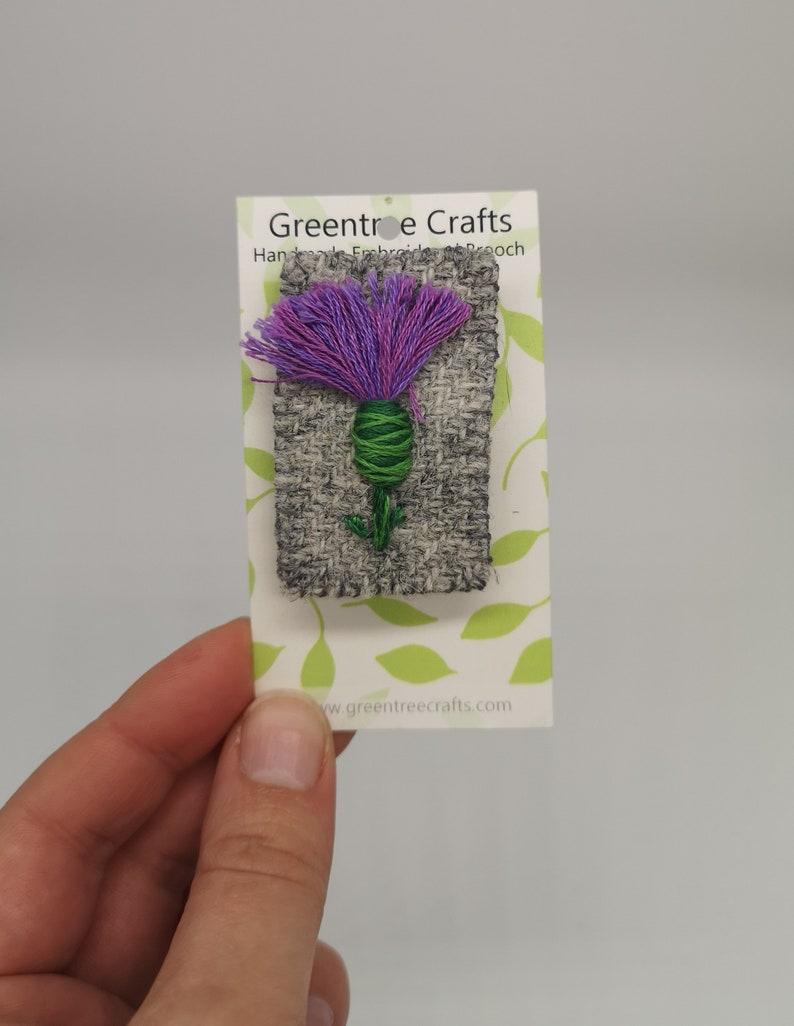Hand Sewn Embroidered Tweed Thistle Brooch image 0