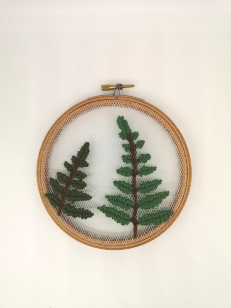 Hand Embroidered Hoop  5 inch hoop  Wool Ferns image 0