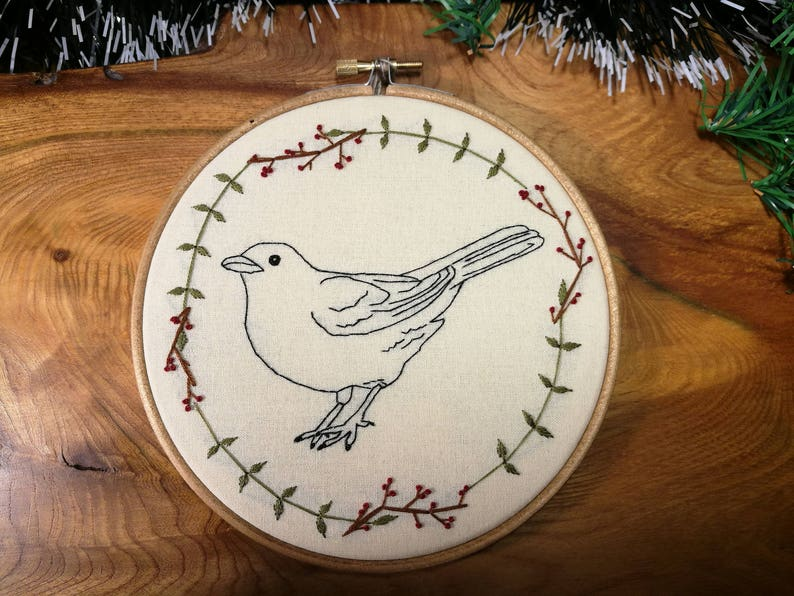 Handmade embroidered blackbird 8 inch hoop image 0