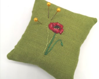 Handmade Pin Cushion with Hand Embroidered Poppy