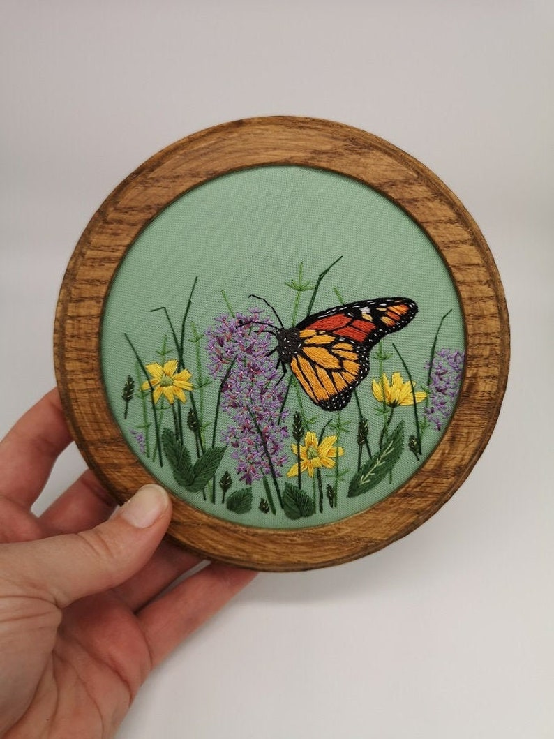 Hand Embroidered Hoop  6 inch hoop  Meadow Butterfly image 0