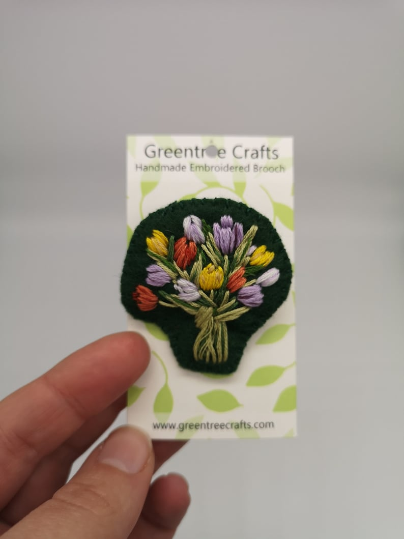 Hand Sewn Embroidered Tulip Bouquet Brooch image 0