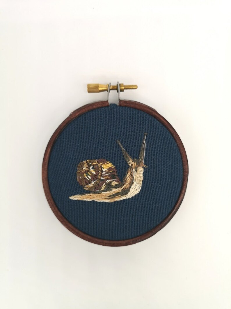 Hand Embroidered Hoop  3 inch hoop  Snail image 0