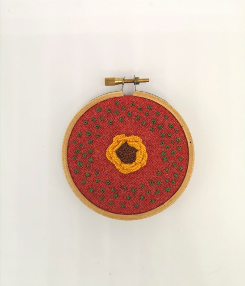 Hand Embroidered Hoop  3 inch hoop  Yellow Flower image 0
