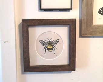 Framed Hand Printed Bumblebee Art Print