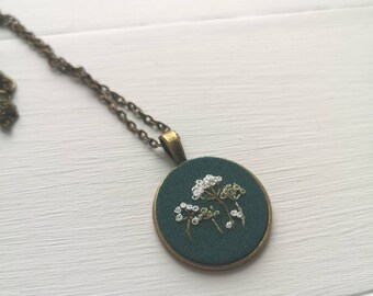 Hand Embroidered Cow Parsley Pendant Necklace