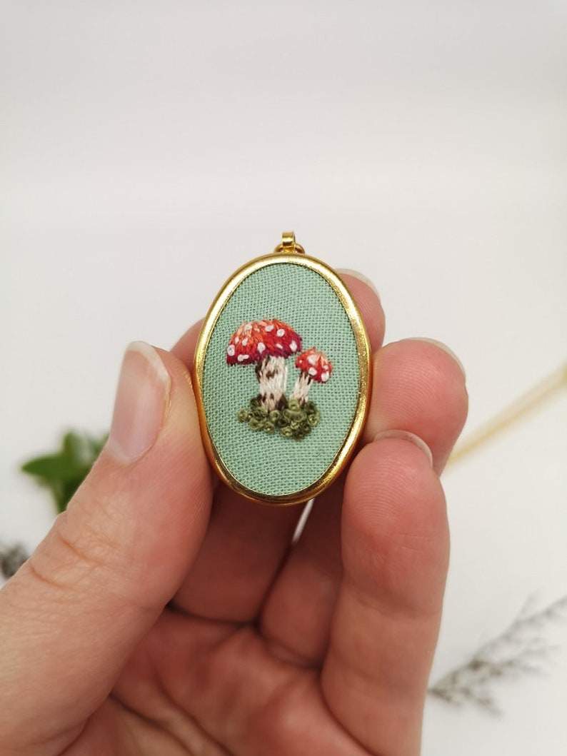 Hand Embroidered Toadstool Pendant Necklace image 0