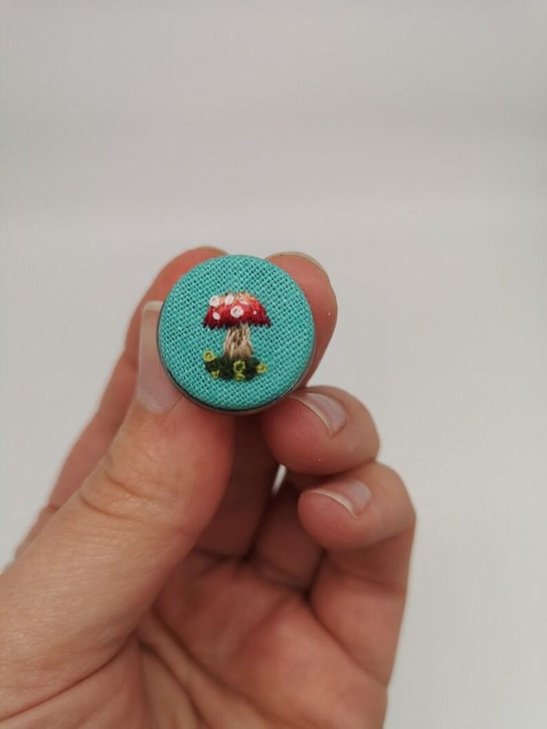 Hand Embroidered Mushroom Toadstool Pin image 0