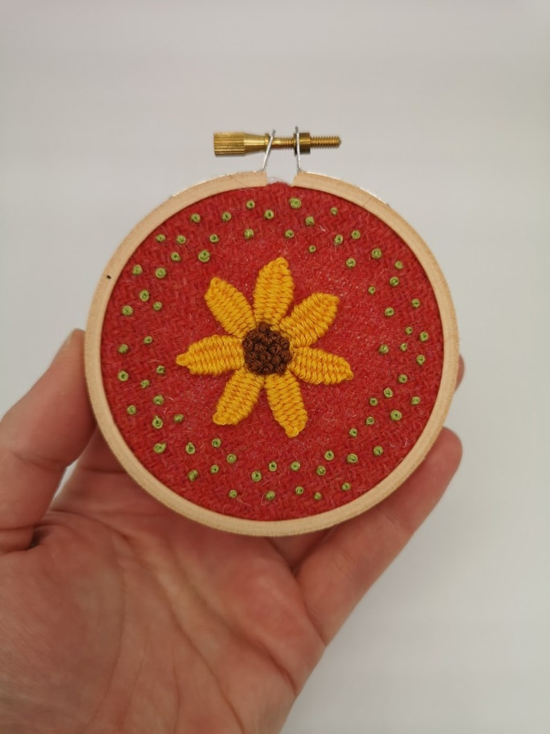 Hand Embroidered Hoop  3 inch hoop  Yellow Picot Flower image 0