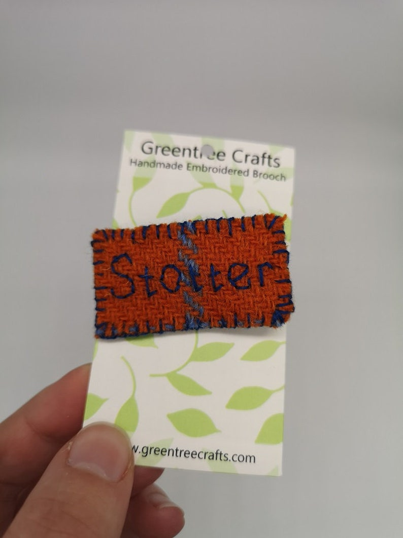 Hand Sewn Embroidered Tweed Stotter Brooch image 0
