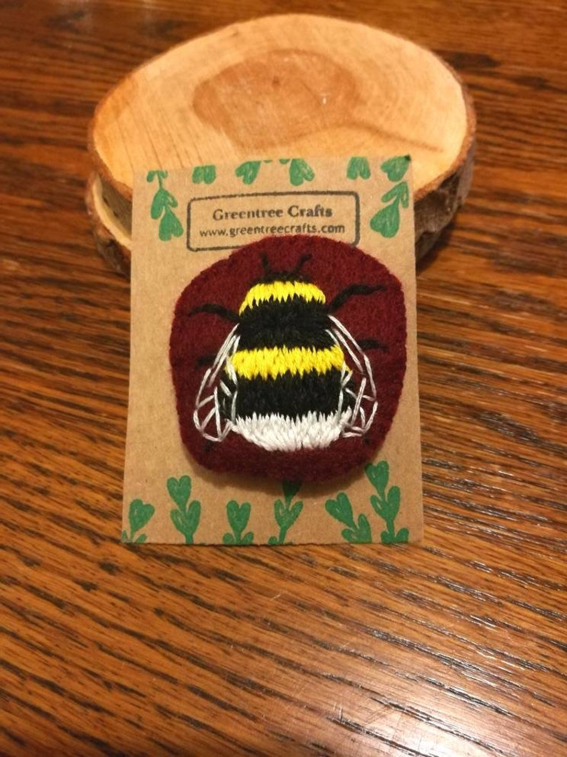 Hand Sewn Embroidered Bumblebee Brooch image 0