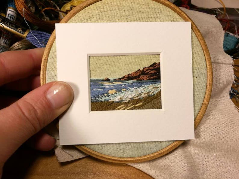 Commission hand embroidered mini landscape. Mixed media with image 0