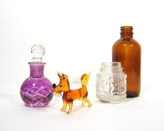 Amber Glass Dog Scottish Terrier Vintage Handblown Animal Figurine