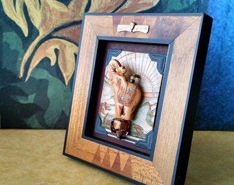Elephant Mixed Media Assemblage Miniature Art Diorama Table Decor