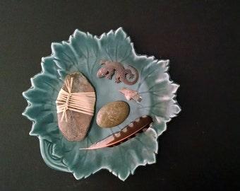 Vintage Leaf Plate Serving Dish Natural Botanical Style Decor