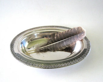 Antique Silver Plate Covered Bowl Serving Dish Victorian Decor
