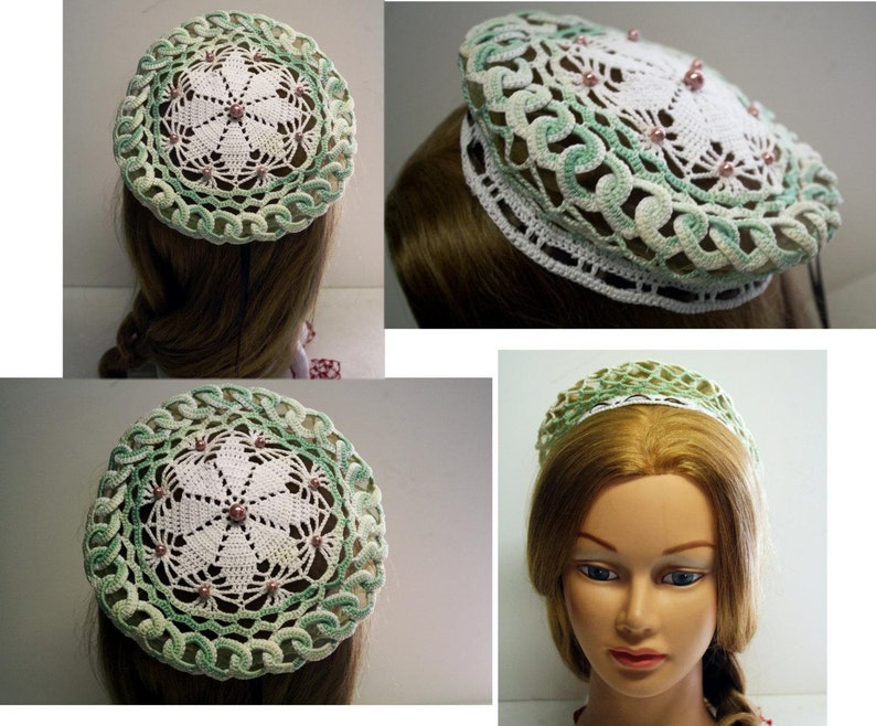 e1d470028585f SALE Renaissance COIF Cap White mint green pearls