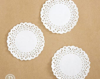 "4"" Lace White Round Paper Doilies"