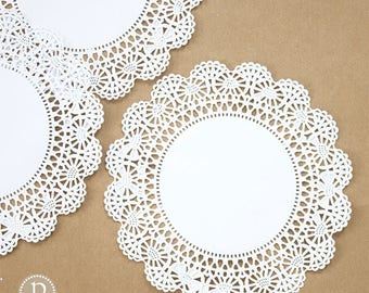 "10"" Hoffmaster White Round Paper Doilies"