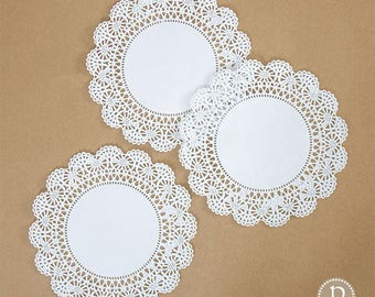 "8"" Hoffmaster White Round Paper Doilies"