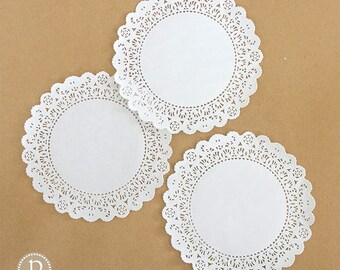 "8"" Lace White Round Paper Doilies"