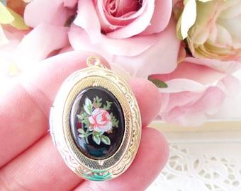 Vintage Rose Locket Necklace 16k Gold Plated - Gold Locket - Oval Locket - Keepsake - Vintage Limoges - Pink Rose